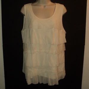 Chico's Tank Top Size 3, L-XL, 16-18 Cream Tiers